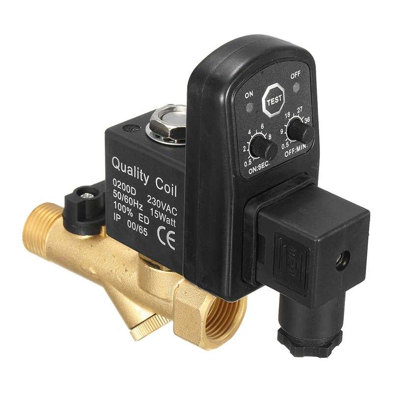 Ac 220 v 1/2 polegada cronometrado eletrônico 2way válvula de drenagem automática do tanque de gás do compressor de ar