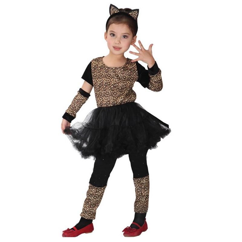 Disfraces de fiesta de disfraces de animé con diseño de leopardo para niñas, regalo de Navidad para niños, trajes de espectáculo escénico para gatos y gatitos