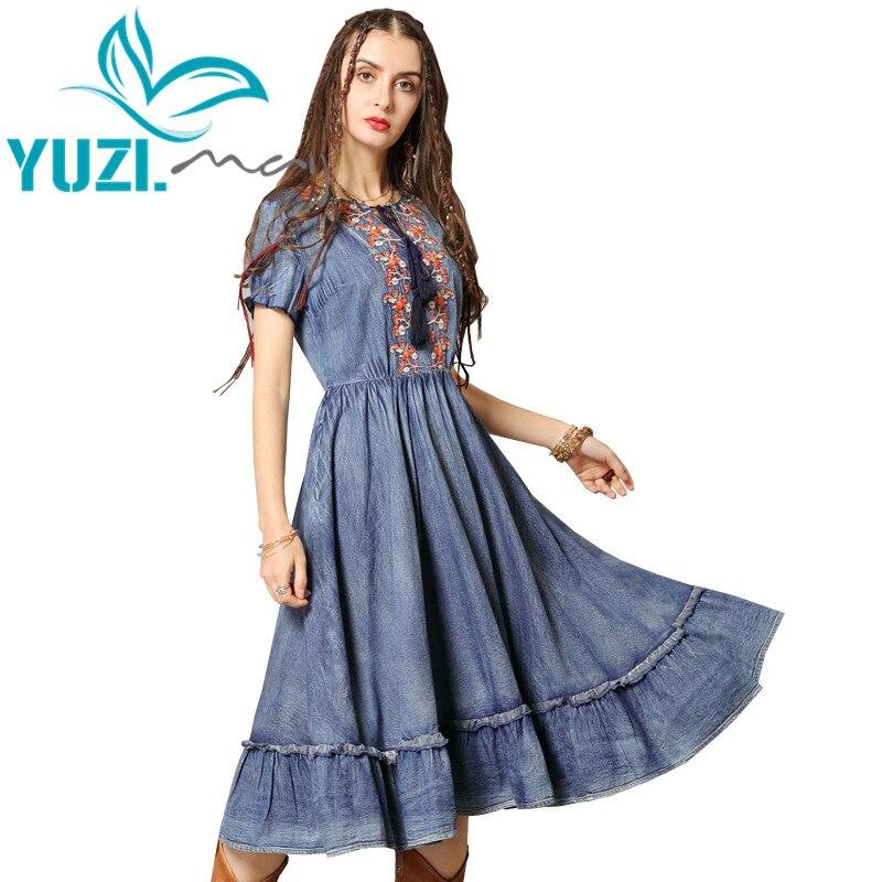فستان صيفي 2019 Yuzi. قد بوهو جديد الدنيم النساء فساتين س الرقبة قصيرة الأكمام خمر زهرة التطريز Vestidos A82157 Vestido
