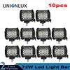 Lumière de travail à 4 rangées 72W | 10 pièces faisceau de tache moto pour ATV UTV SUV UAZ Jeep Truck 12V 24V