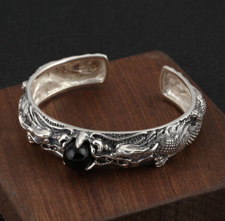 s925 sterling silver Rough men's bracelet retro double dragon play beads men's open Thai silver bracelet