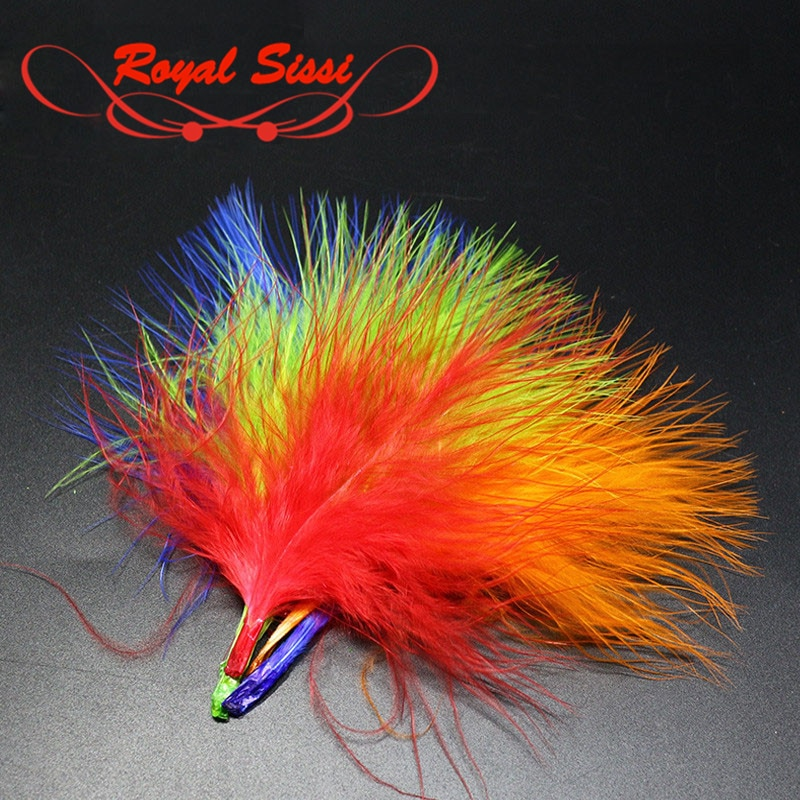 Real Sissi caliente 40 plumas paquete seleccionados a mano pavo Marabou sangre teñido plumas wooly Bugger moscas cuerpo y la cola atado de moscas material