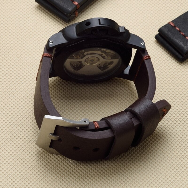 MERJUST 22mm 24mm 26mm negro marrón cuero genuino reloj pulsera para PAM PAM441 111 gran piloto reloj Garmin Fenix3 Correa