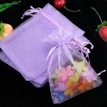 Simple 5x7cm color lavanda organza bisutería regalo bolsas lazo bolsas bolsitas de organza económicas 100 unids/lote al por mayor