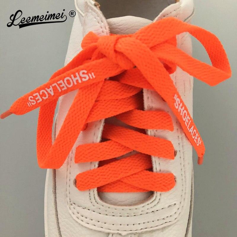"""1 par de zapatos de hombre con estampado de letras """"cordones de zapatos"""" firmado OW cordones de zapatos de personalidad diy verde naranja"""