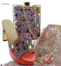 Doershow-ensembles de chaussures et de sacs italiens   Élégants, pour fête/mariage, ensembles de chaussures et de sacs pour femmes africaines violettes, collection