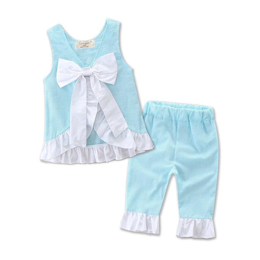 Conjunto de pantalón de verano para niñas, tejido Seersucker, con volantes, rosa, azul, amarillo, Morado, aqua