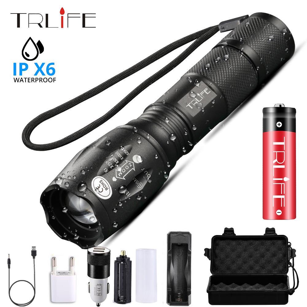 Светодиодный фонарик, самый мощный фонарь T6/L2/V6, фонарь для кемпинга, 5 режимов переключения, водонепроницаемый, масштабируемый, велосипедный фонарь, использовать аккумулятор 18650