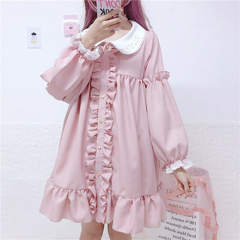 Otoño nueva muñeca Linda collar ruffled Harajuku mujeres vestidos hoja Súper Hada Lolita encaje costura de manga larga vestido femenino