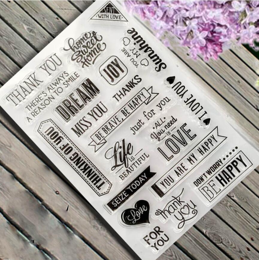 SC013 Frases Transparente Silicone Selos Selos para Scrapbooking/Albums/Diário/Cartão Que Faz/Kids Fun Transparente Decorativo selos
