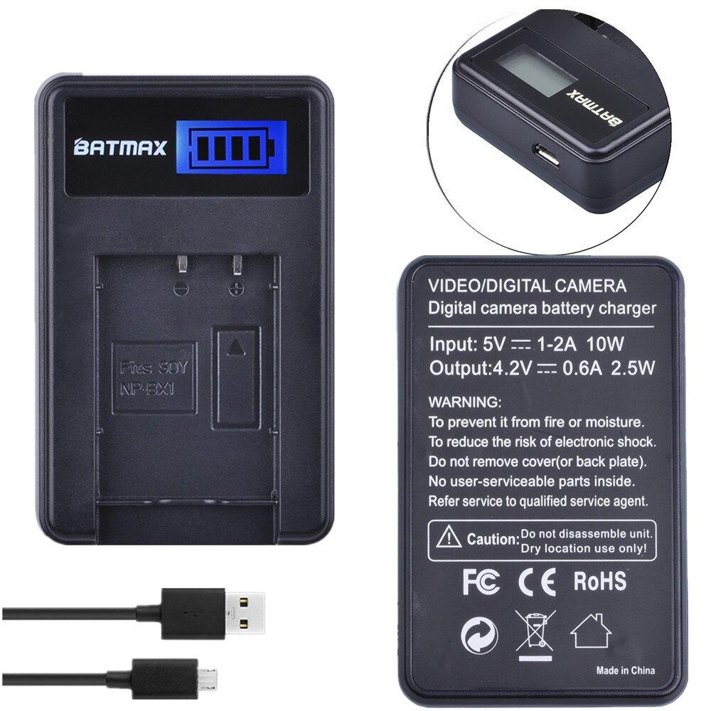 Batmax 1pc NP-BX1 NPBX1 NP BX1 pantalla LCD USB cargador de batería para Sony DSC RX1 RX100 AS100V M3 M2 HX300