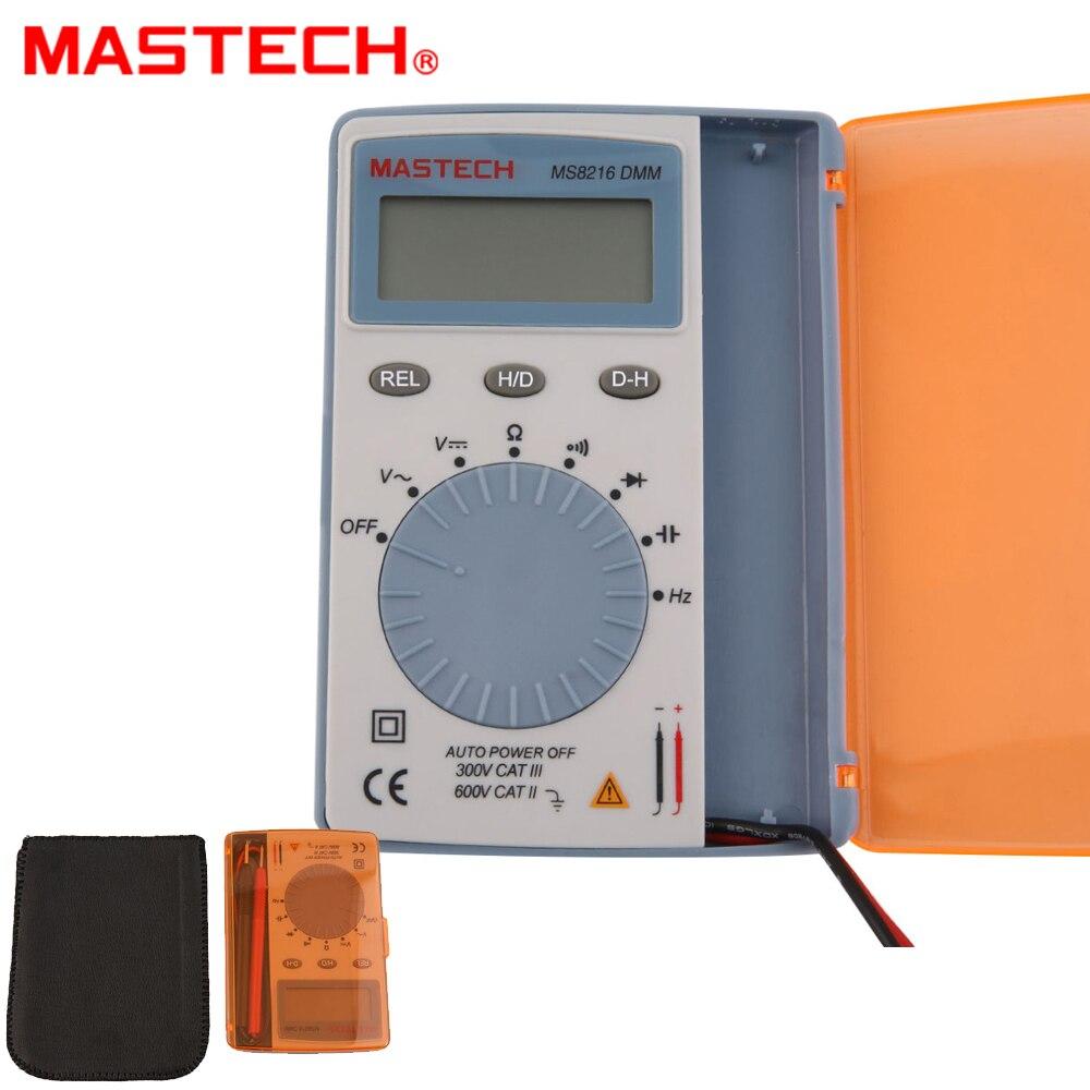 Multímetro Digital MASTECH MS8216 4000 recuentos LCD Autoranging AC/DC voltaje DMM Detector de bolsillo con diodo