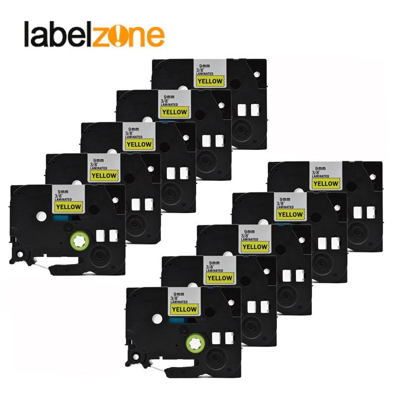 10 حزمة 9 مللي متر tze621 أشرطة الأصفر متوافق ل طابعة p-touch tze الشريط tze-621 tz621 tz-621 tz 621 التسمية الشريط ل brother