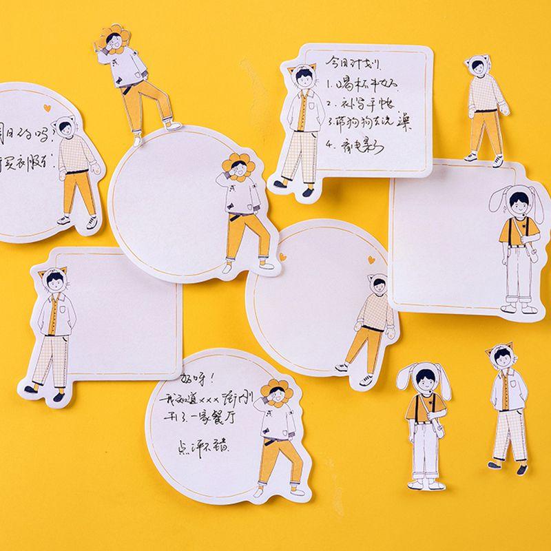 30 листов оранжевый девушка студент оставить сообщение блокнот планировщик Липкие заметки бумажный стикер студент стационарный Shool офисные поставки
