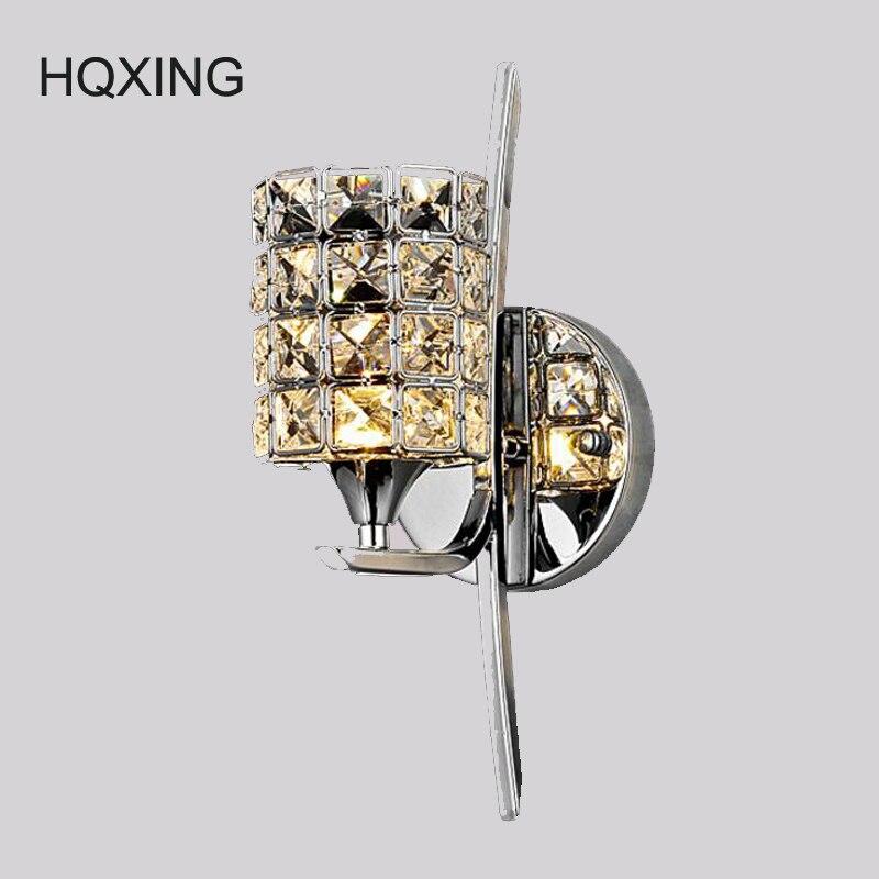 HQXING de lujo moderno de lujo K9 cristal candelabros para luces de pared de lujo moderno de lujo hermoso dormitorio Pared de Salón AC 90-260V