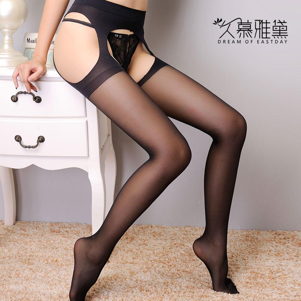 DRAIMIOR Women Sexy Stockings Plus Size Lenceria Tights Erotic Intimates Open Crotch Pantyhose Sexy Hosiery Black Costumes 2028