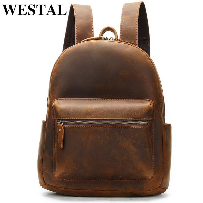 WESTAL-حقيبة ظهر جلدية كريزي هورس للرجال ، حقيبة ظهر للكمبيوتر المحمول ، حقيبة مدرسية متعددة الوظائف ، حقيبة كتف بسيطة 2315