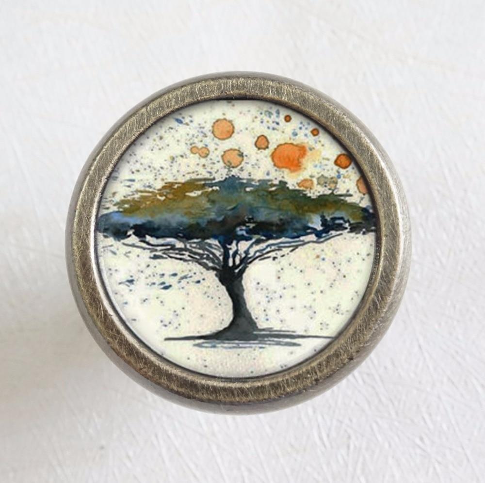 Pomo de cómoda cajón de cristal de árbol artístico pomos/pomos de antigüedades de cajón bronce/Tirador pomo manilla francés adornado/muebles