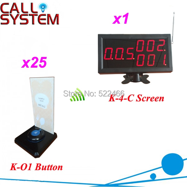 CE approved 433.92mhz Wireless Buzzer Systems for restaurant services with 25 call buttons and 1 display, shipping free