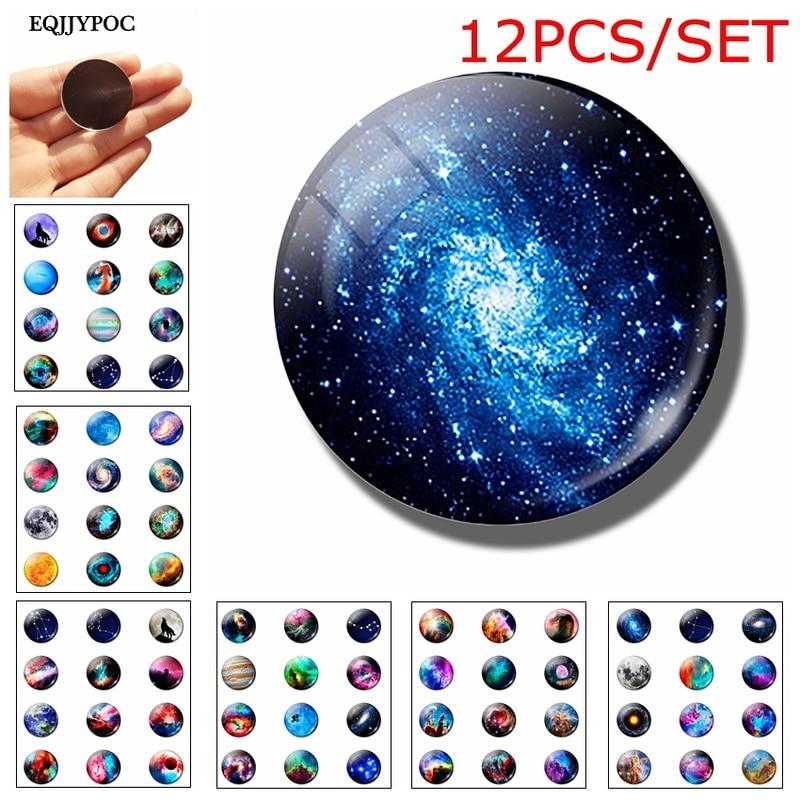 12 adet romantik gizemli planet bulutsusu buzdolabı mıknatısı 25MM cam not tutucu dekorasyon buzdolabı manyetik Sticker ev dekor