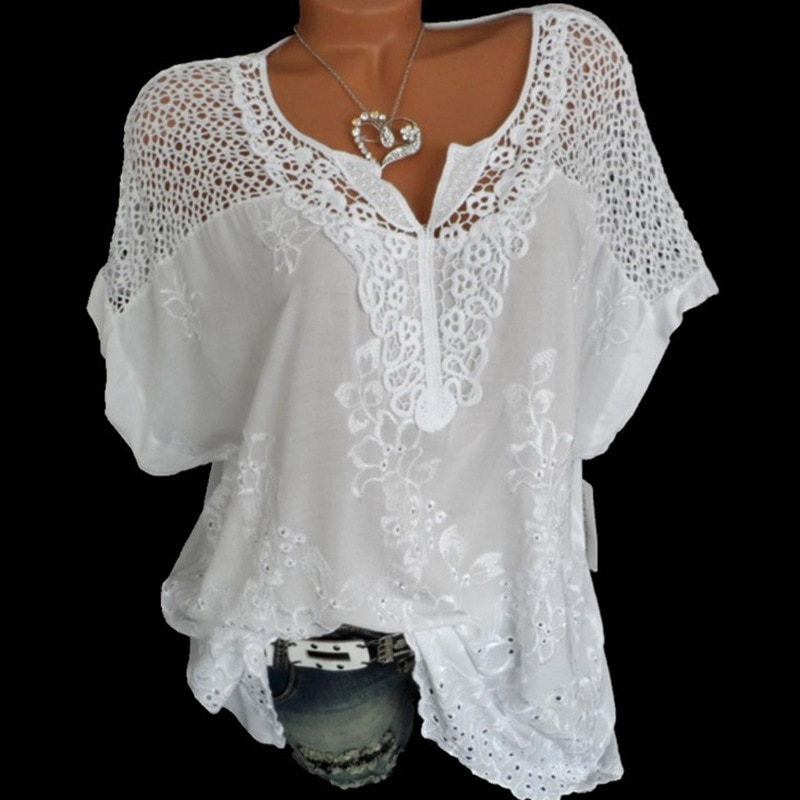 2019 Summer Short Sleeve Womens Blouses And Tops Loose White Lace Patchwork Shirt Plus Size 4xl 5xl
