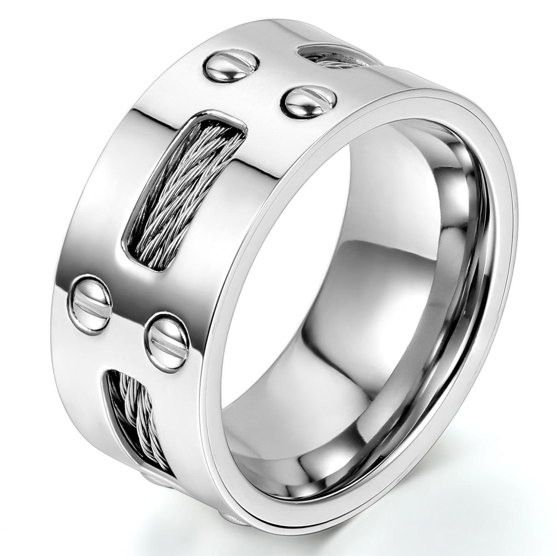 Мужское кольцо BONISKISS, Крутое обручальное кольцо из нержавеющей стали со стальными кабелями, 9 мм, Размер 7-13, серебристый цвет