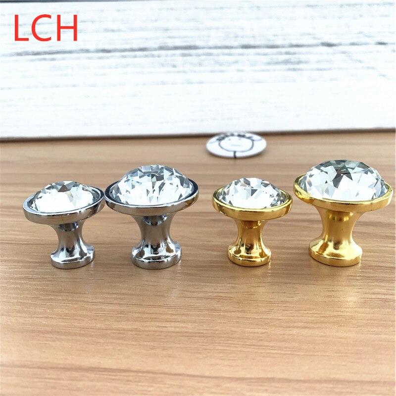 LCH 30mm 35mm Top Quailty Crystal Cut Diamond Shaped Cabinet Knob Gold Silver Modern Style Knob Clear Crystal Handles