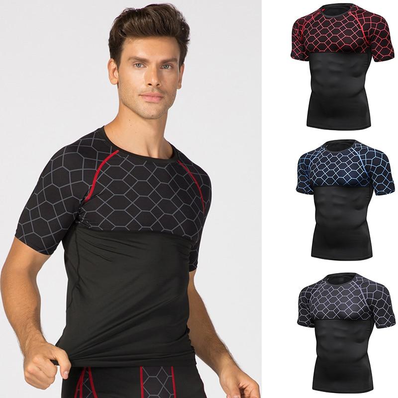 Camisetas deportivas para Hombres Calientes elásticas de secado rápido estampado apretado ropa deportiva para entrenamiento HV99