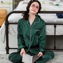 Adult Pyjamas New Girls Satin Silk Pajamas Green Long Sleeve Autumn Clothes Luxury Home Clothes Plus Size Female Nightwear Home