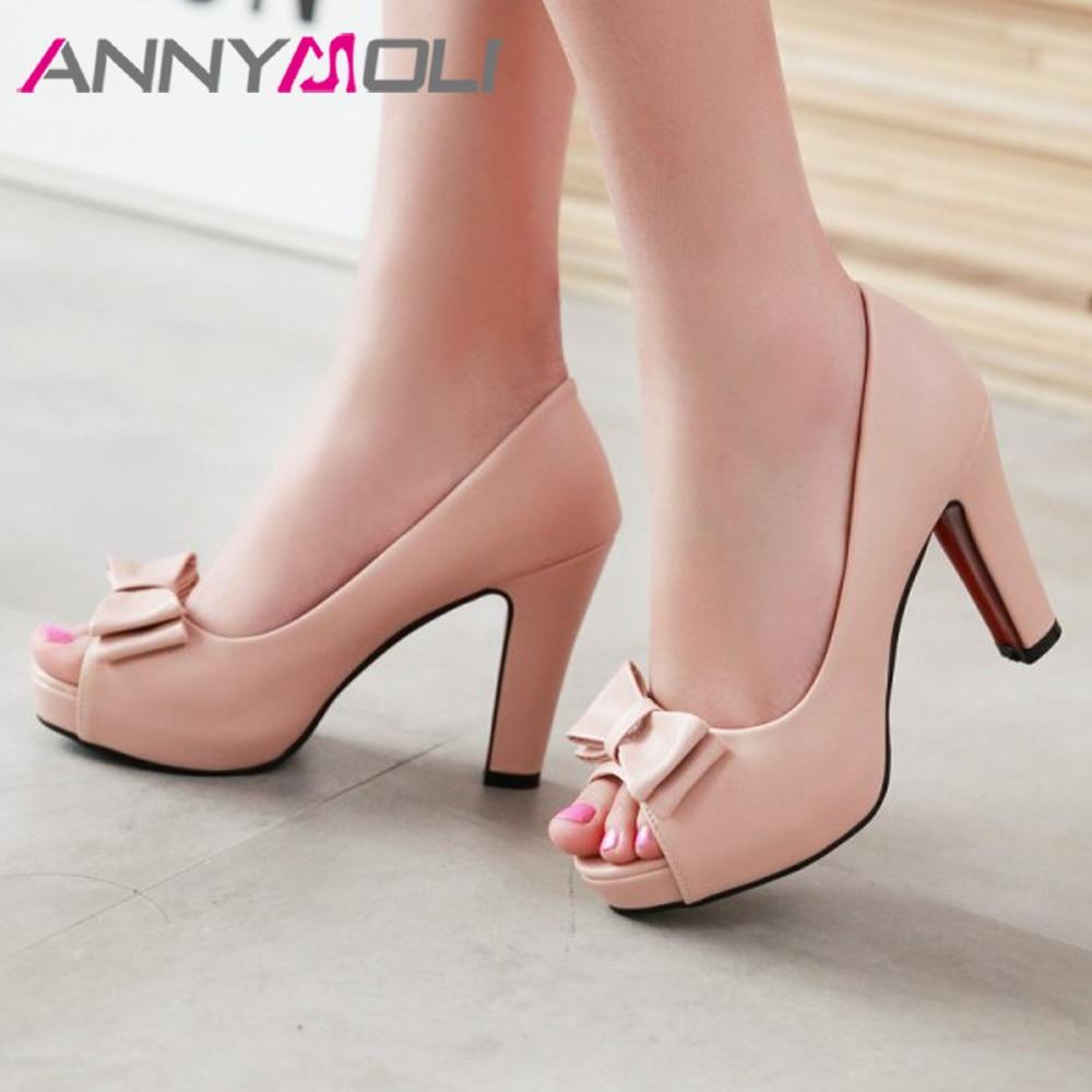 ANNYMOLI-حذاء نسائي بكعب عالٍ بنعل سميك ومفتوح من الأمام ، أحذية حفلات فاخرة بمقدمة مفتوحة ، مقاس 43 33 ، ربيع