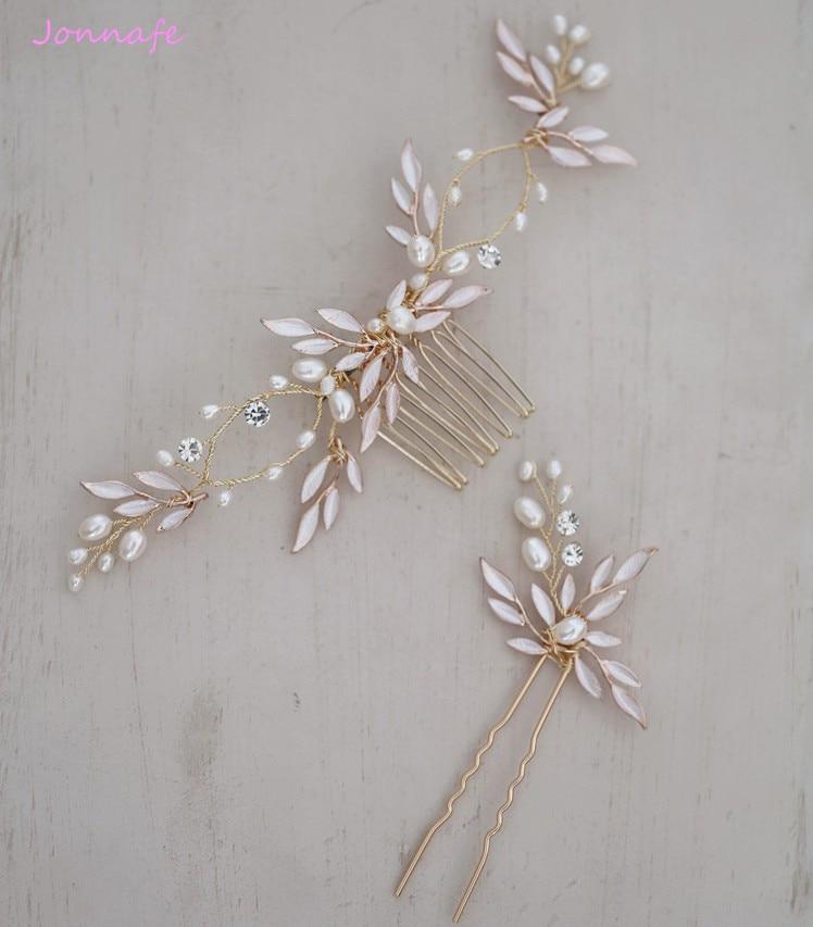 Женский гребень для волос Jonnafe Boho, Свадебный ободок с золотыми листьями, аксессуары для волос с пресноводным жемчугом, ювелирное изделие для...