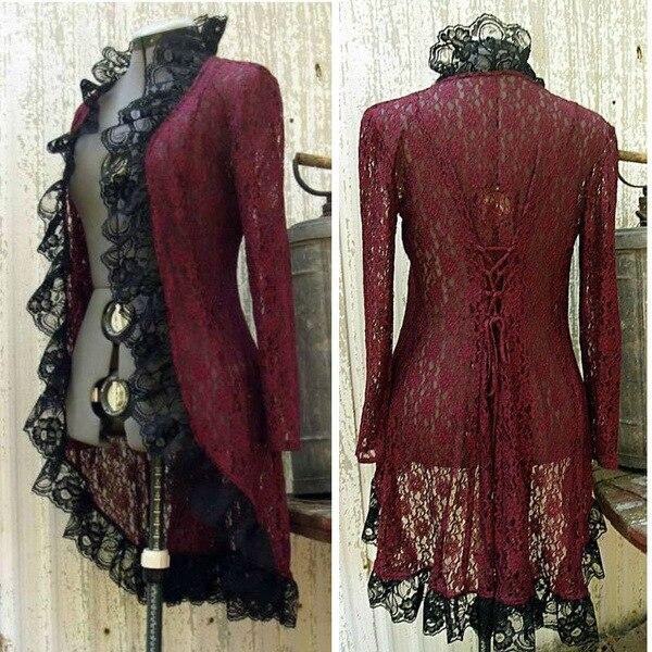 Feminino jaqueta pirata gótico medieval casaco de renda sexy manga longa traje de halloween vintage gótico smoking longo casaco