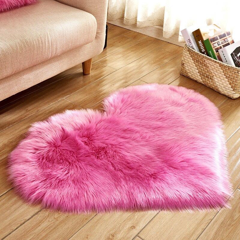 Amor coração tapetes de lã artificial pele carneiro peludo shaggy tapete do falso tapete macio quarto do bebê