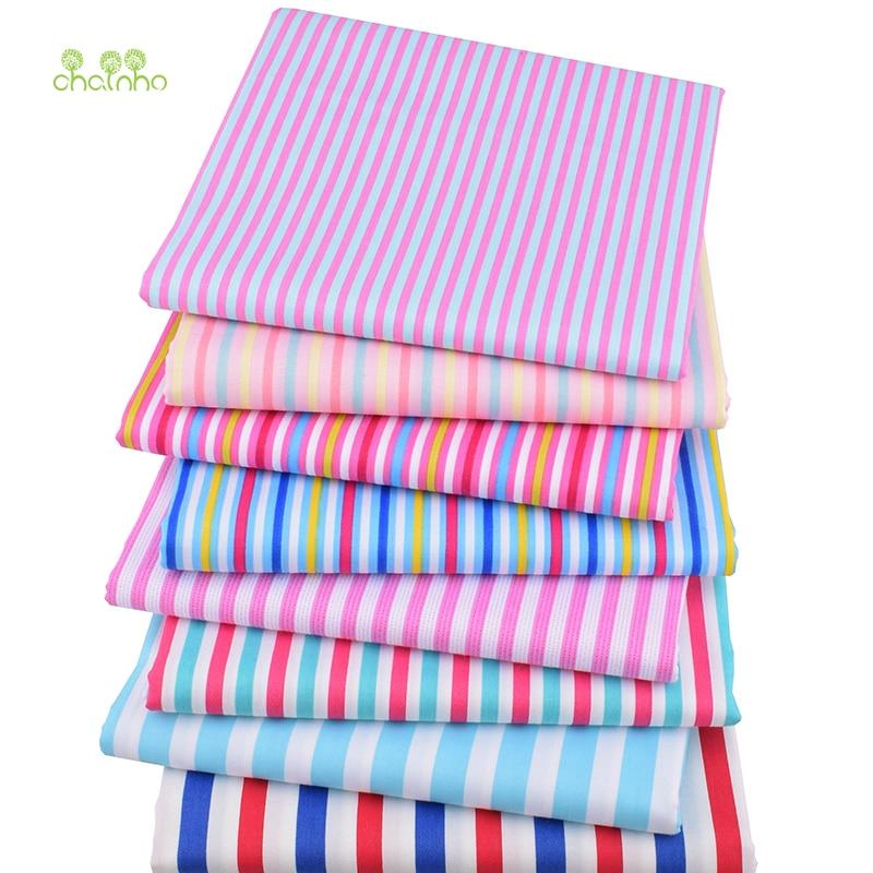 Chainho,8 unids/lote, Serie de rayas de colores, tela de algodón de sarga impresa, tela de retales para costura DIY y acolchado Material para bebés y niños