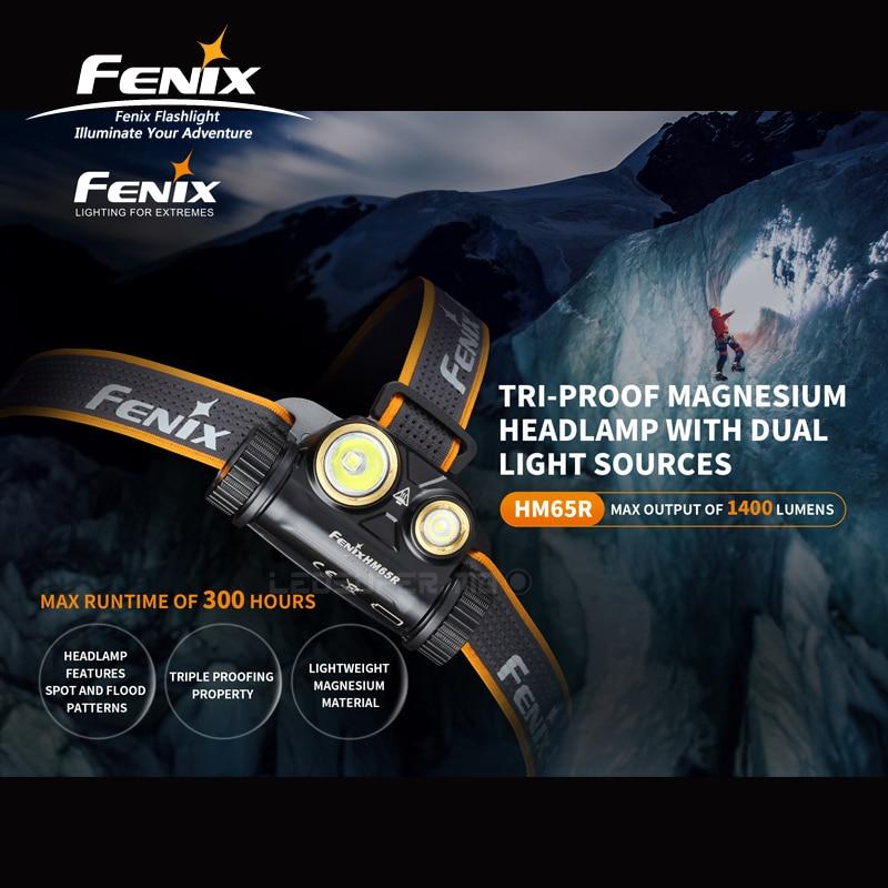 Двойной светильник Fenix HM65R 1400 люменов три-доказательство магния налобный фонарь для длительного времени и высокой интенсивности активного отдыха