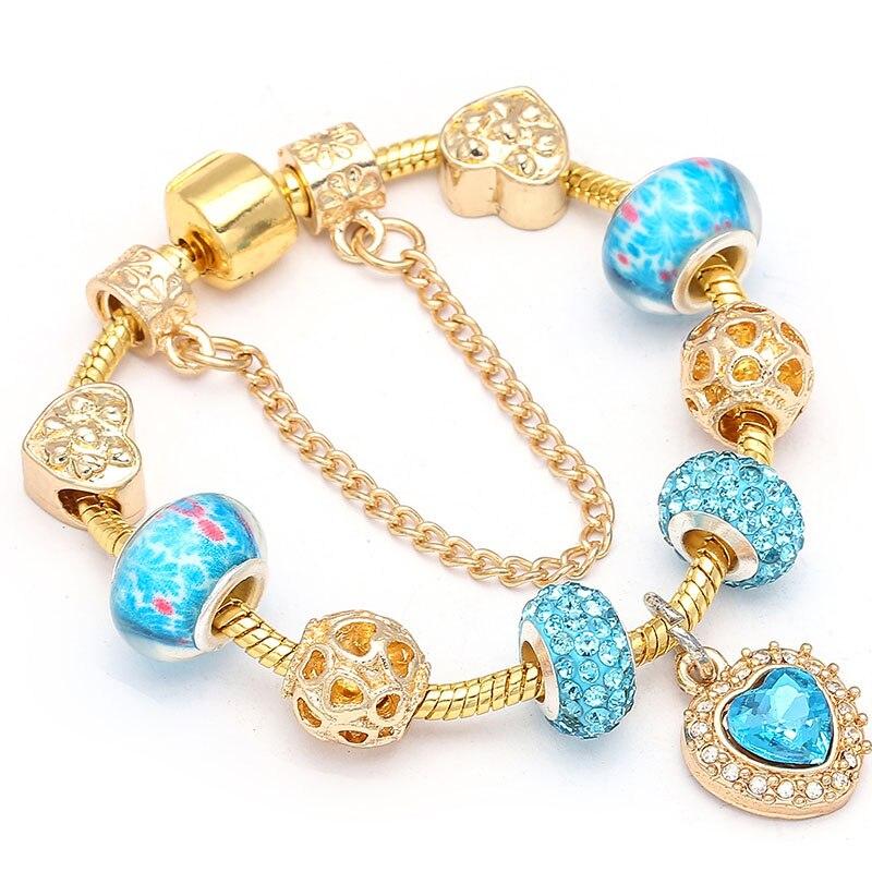 BAOPON European Style Blue Heart Charm Bracelets & Bangles Marano Beads Fits Brand Bracelets for Women Jewelry Girlfriend Gift