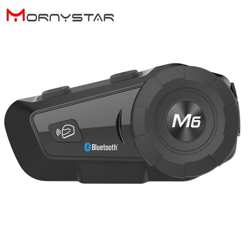 M6 زائد 1000m دراجة نارية بلوتوث الخوذة إنترفون سماعة MP3 FM ل سيري الأوامر يدوي BT البيني ل كامل الوجه خوذة
