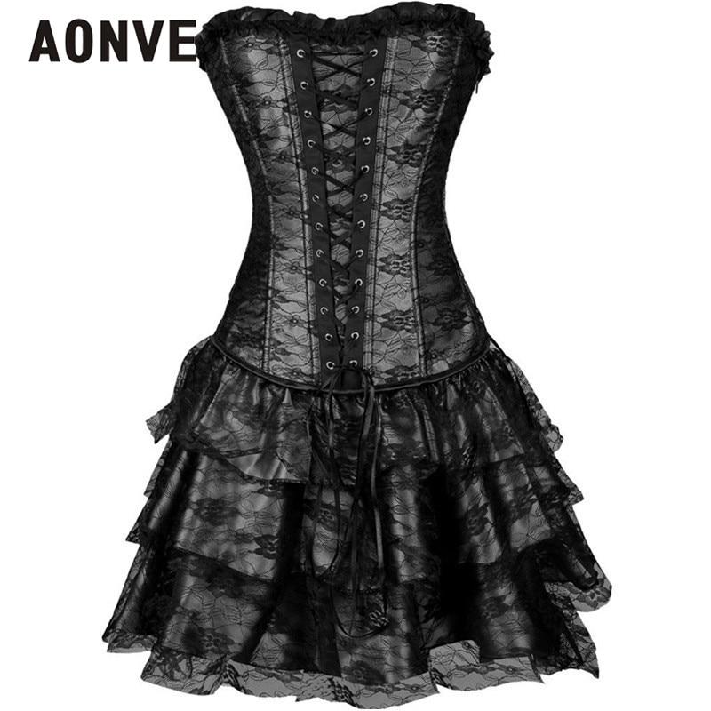 AONVE Steampunk Korsett Party Kleid Mit Rock Overbust Shapewear Korsetts Bustiers Gothic Kleidung Burlesque Mieder für Frauen