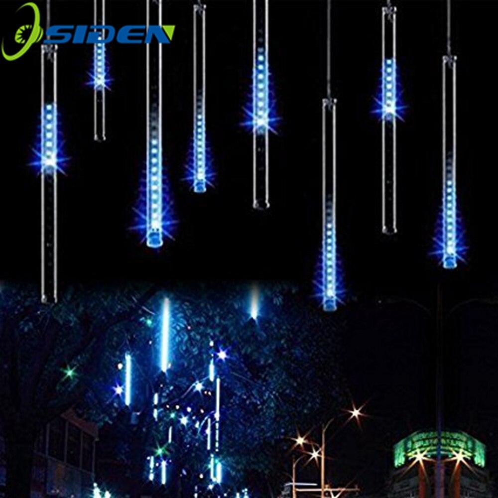 Luces LED de lluvia de meteoritos, 30CM, 8 tubos de caída de lluvia, carámbano de nieve, guirnalda de luces LED impermeables de Navidad para vacaciones