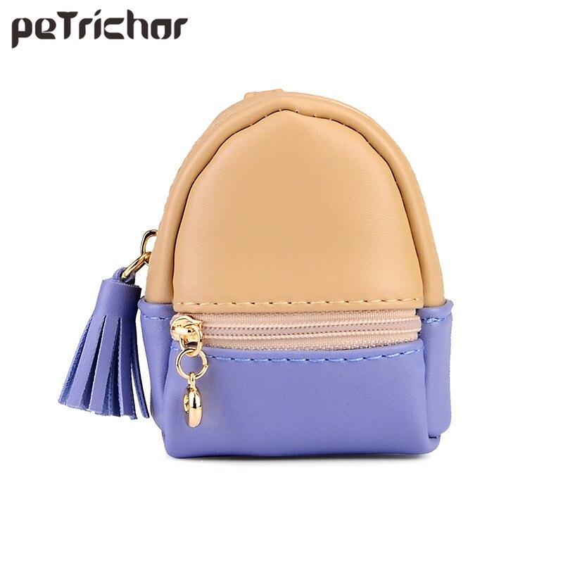 Terra molhada Coreano Estilo Mini Bolsa de Couro PU Meninas Coin Bolsas Lady Moda Tassel Zipper Patchwork Multifuncional Pequena Bolsa