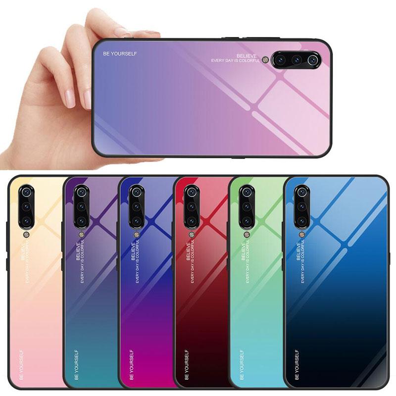 Gradiente de vidro temperado capa para xiaomi mi 9 se 8 lite a2 lite a1 5x max 3 f1 redmi 7 nota 7 6 5 pro 6a brilhante telefone casos