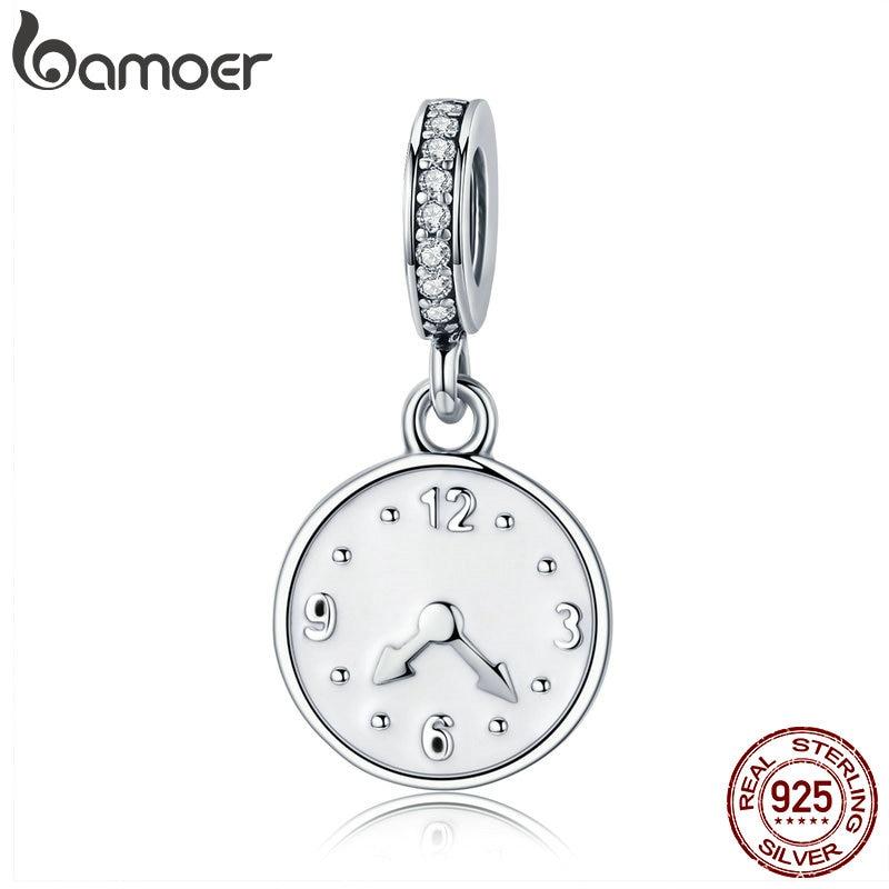Женские часы BAMOER, браслет из серебра 100% натуральной 925 пробы с подвеской Happy Time, SCC657