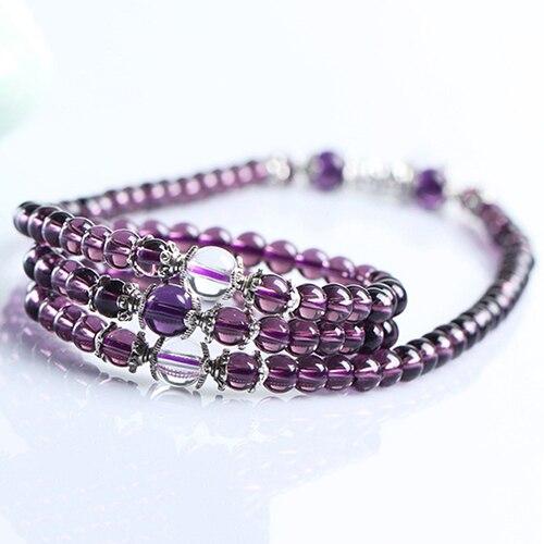 6mm cristal pedra budista 108 contas de oração mala pulseira colar estilo étnico contas claras budista pulseira mulher jewerly presente