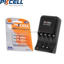 4PCS PKCELL 1,6 V 900mWh Akkus NI ZN AAA Batterie verpackt NI-ZN Ladegerät für AA/AAA batterie EU/us-stecker