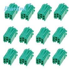 Biurlink câble de harnais dautoradio   Mini connecteur ISO, fiche ISO 6 & 8Pin, jaune bleu vert, Contacts pour Renault Fiat Audi VW 100 pièces