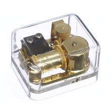 Plastic Windup 18 Note Music Box Gold Movement Transparent Musical Toys Christmas Gift for Kids,Diff