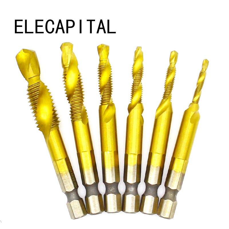 1/4'' Hex HSS High Speed Steel Thread Spiral Screw M3 M4 M5 M6 M8 M10 Metric Composite Tap Drill Bit Tap 6pcs/set HSS 6542