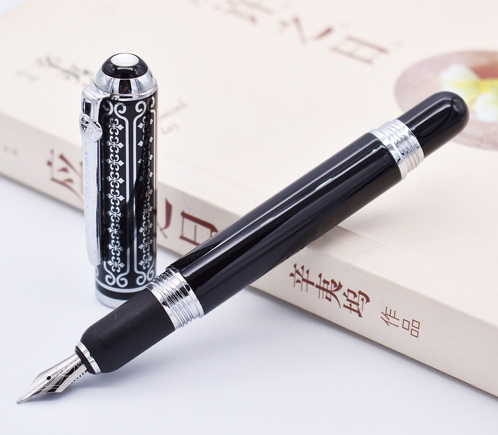 Duke 669 Fountain Pen , Beautiful Black Flowers Pattern Medium Nib 0.7mm Writing Pen Business , Office , Home Supplies