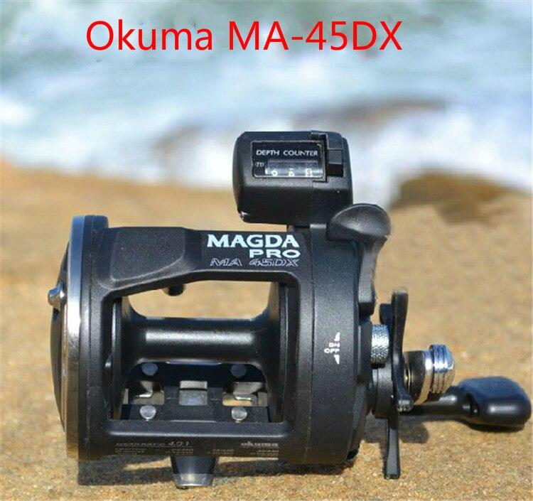 Angelgerät Okuma magda Ma-45dx drum reel kabelaufwicklung fischerrunde Zählen REEL meeresrolle rechte rollen