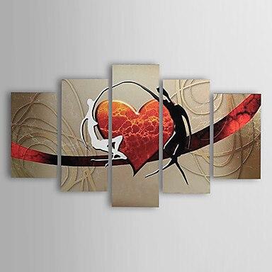 5 piezas pintado a mano lienzo pintura-amantes abstractos modernos corazón lienzo pared arte listo para colgar